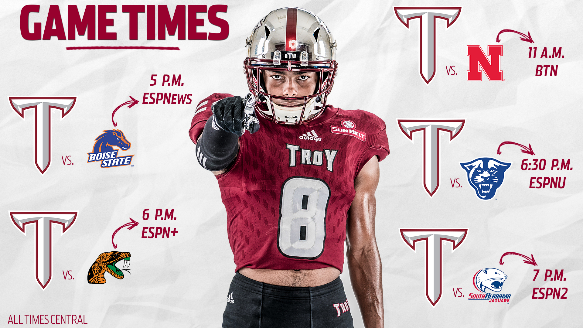 Game Times Set For Five Troy Football Games Troy University Athletics